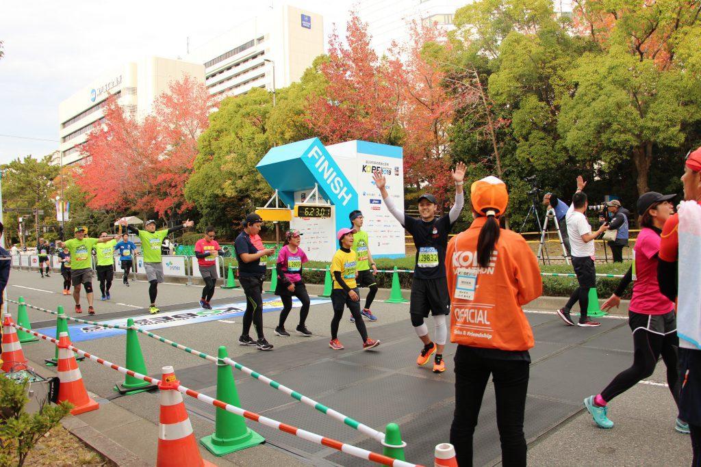 神戸マラソンのゴール直後の様子